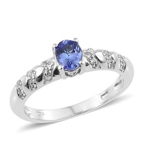 Tanzanite, Cambodian Zircon Platinum Over Sterling Silver Ring (Size 5.0) TGW 0.92 cts.