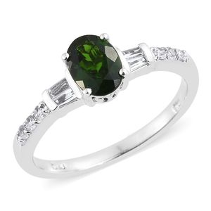 Russian Diopside, White Topaz Platinum Over Sterling Silver Ring (Size 10.0) TGW 1.65 cts.