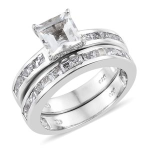 Set of 2 White Topaz Platinum Over Sterling Silver Stack Ring (Size 7.0) TGW 4.25 cts.