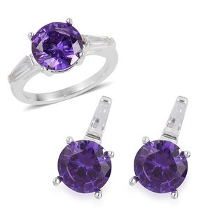 Simulated Amethyst, Simulated Diamond Stainless Steel Earrings and Ring (Size 6) TGW 3.40 cts.