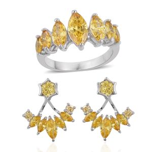 Simulated Yellow Diamond Silvertone Ear Jacket Earrings and Ring (Size 10) TGW 3.50 cts.