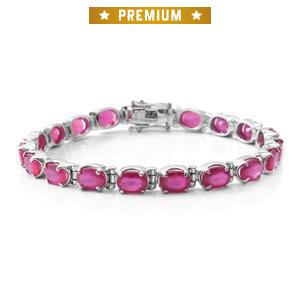 Niassa Ruby Sterling Silver Bracelet (8.00 In) TGW 22.16 cts.