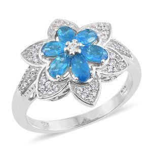 Malgache Neon Apatite, Cambodian Zircon Platinum Over Sterling Silver Flower Ring (Size 8.0) TGW 1.85 cts.
