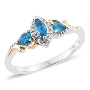 Malgache Neon Apatite, Cambodian Zircon 14K YG and Platinum Over Sterling Silver Ring (Size 6.0) TGW 0.68 cts.