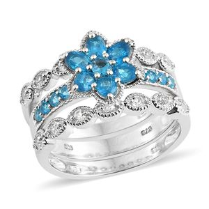 Malgache Neon Apatite, White Topaz Platinum Over Sterling Silver Stackable Rings (Size 8.0) TGW 2.14 cts.