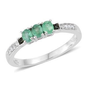Brazilian Emerald, Cambodian Zircon, Diamond Accent Platinum Over Sterling Silver Ring (Size 7.0) TGW 0.61 cts.