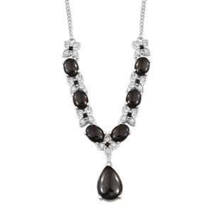 Shungite, Multi Gemstone Platinum Over Sterling Silver Necklace (18 in) TGW 9.17 cts.