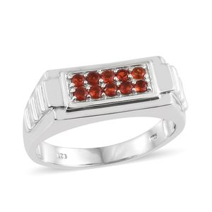 Jalisco Fire Opal Platinum Over Sterling Silver Men's Ring (Size 13.0) TGW 0.30 cts.