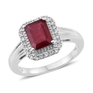 Dan's Collector Deal Niassa Ruby, Cambodian Zircon Platinum Over Sterling Silver Ring (Size 10.0) TGW 3.90 cts.