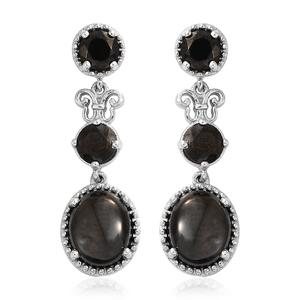 Shungite Platinum Over Sterling Silver Earrings TGW 4.50 cts.