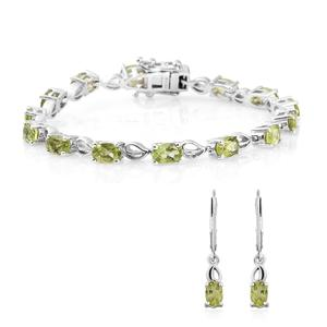Customer Appreciation Day Hebei Peridot Platinum Over Sterling Silver Earrings and Bracelet TGW 7.60 cts.