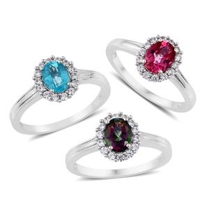 Set of 3 Northern Lights Mystic Topaz, Pure Pink Mystic Topaz, Paraiba Topaz, Cambodian Zircon Platinum Over Sterling Silver Halo Ring (Size 8) TGW 5.65 cts.