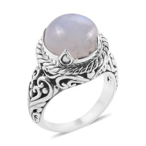 Bali Legacy Collection Rainbow Moonstone Sterling Silver Solitaire Ring (Size 9.0) TGW 11.93 cts.