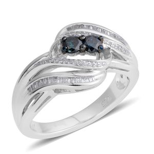 Blue Diamond (IR), Diamond Sterling Silver Ring (Size 7.0) TDiaWt 0.35 cts, TGW 0.35 cts.