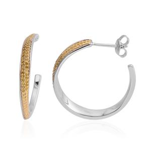 Yellow Diamond (IR) 14K YG Over and Sterling Silver Hoop Earrings TDiaWt 0.25 cts, TGW 0.25 cts.