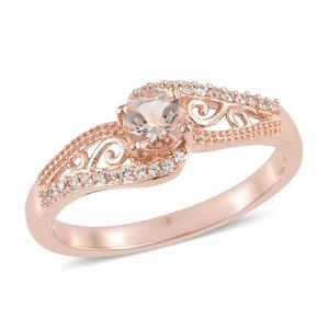 Marropino Morganite, Cambodian Zircon Vermeil RG Over Sterling Silver Ring (Size 7.0) TGW 0.65 cts.