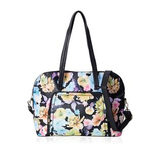 Black with Multi Color Flower Pattern Faux Leather Bowling Bag with Removable Shoulder Strap (17x5x12 in)