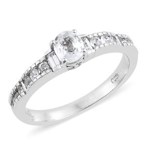 Natural White Zircon Platinum Over Sterling Silver Ring (Size 7.0) TGW 1.63 cts.