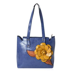 Navy with Brown Leaves and Mustard Flower Faux Leather Tote Bag with Handle Drop (12x5.2x11 in)