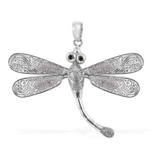 Bali Legacy Collection Russian Diopside, White Zircon Sterling Silver Dragonfly Pendant without Chain TGW 1.06 cts.