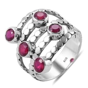 Bali Legacy Collection Niassa Ruby Sterling Silver Elongated 5 Stone Ring (Size 7.0) TGW 3.81 cts.