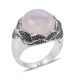 Bali Legacy Collection Rainbow Moonstone, Thai Black Spinel Sterling Silver Ring (Size 7.0) TGW 15.07 cts.