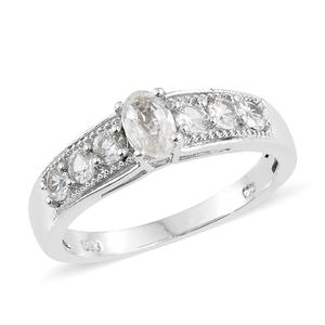 Natural White Zircon Platinum Over Sterling Silver Ring (Size 10.0) TGW 1.75 cts.
