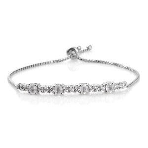 Natural White Zircon Platinum Over Sterling Silver Bolo Bracelet (Adjustable) (9.50 In) TGW 3.30 cts.