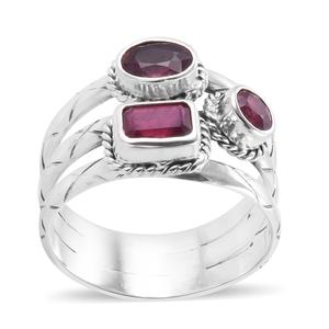 Bali Legacy Collection Niassa Ruby Sterling Silver Ring (Size 7.0) TGW 3.29 cts.