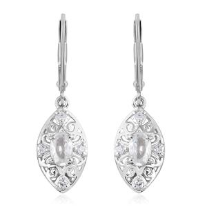 Natural White Zircon Platinum Over Sterling Silver Lever Back Earrings TGW 1.65 cts.