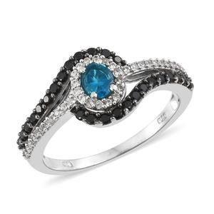 Malgache Neon Apatite, Multi Gemstone Platinum Over Sterling Silver Ring (Size 5.0) TGW 1.17 cts.