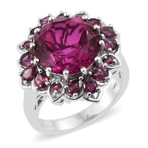 Radiant Orchid Quartz, Orissa Rhodolite Garnet Platinum Over Sterling Silver Ring (Size 7.0) TGW 12.80 cts.