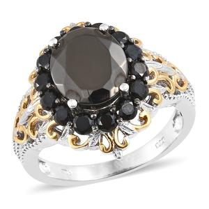Shungite, Thai Black Spinel 14K YG and Platinum Over Sterling Silver Ring (Size 7.0) TGW 4.54 cts.