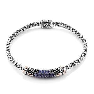 Bali Legacy Collection 18K YG Premium AAA Tanzanite Sterling Silver Tulang Naga Bar Bracelet (7.50 In) TGW 1.17 cts.
