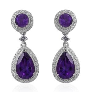 Lusaka Amethyst, White Topaz Sterling Silver Dangle Earrings TGW 4.20 cts.
