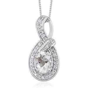 Petalite, Cambodian Zircon Platinum Over Sterling Silver Pendant With Chain (20 in) TGW 1.42 cts.