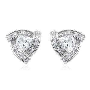 Cambodian Zircon Platinum Over Sterling Silver Earrings TGW 2.58 cts.