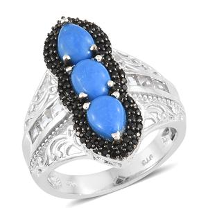 Ceruleite, Multi Gemstone Platinum Over Sterling Silver Ring (Size 7.0) TGW 3.27 cts.