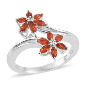 Crimson Fire Opal, Cambodian Zircon Platinum Over Sterling Silver Floral Split Bypass Ring (Size 6.0) TGW 0.62 cts.