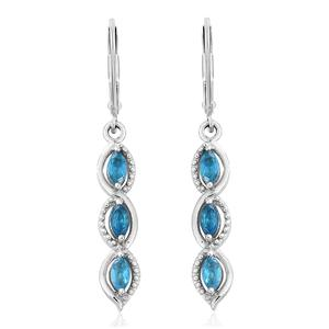 Malgache Neon Apatite Platinum Over Sterling Silver Lever Back Earrings TGW 0.96 cts.