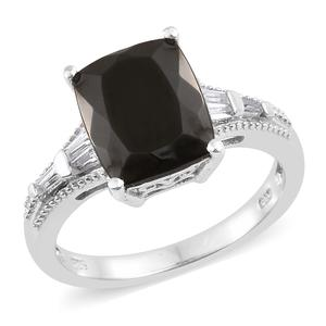 Shungite, White Topaz Platinum Over Sterling Silver Ring (Size 7.0) TGW 3.85 cts.