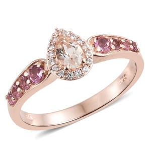 Marropino Morganite, Multi Gemstone Vermeil RG Over Sterling Silver Ring (Size 7.0) TGW 0.95 cts.