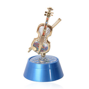 Blue with Multicolor Violin Shape Wind up Spring Music Box with LED Light (4.3x7.8 in)