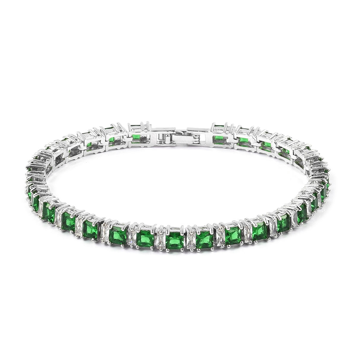 Simulated Emerald, Simulated Diamond Silvertone Tennis Bracelet (7.50 In) TGW 15.00 cts.