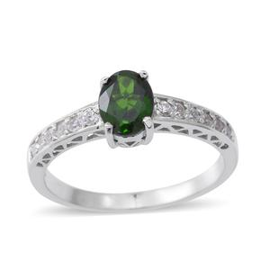 Russian Diopside, Cambodian White Zircon Sterling Silver Ring (Size 7.0) TGW 1.92 cts.