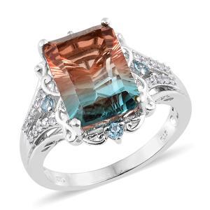 Aqua Terra Costa Quartz, Multi Gemstone Platinum Over Sterling Silver Ring (Size 8.0) TGW 8.62 cts.