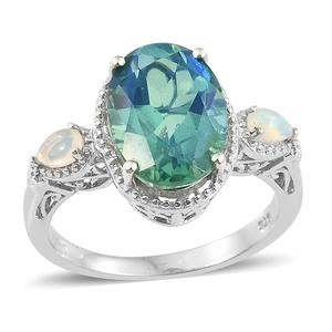 Peacock Quartz, Ethiopian Welo Opal Platinum Over Sterling Silver Ring (Size 6.0) TGW 6.10 cts.