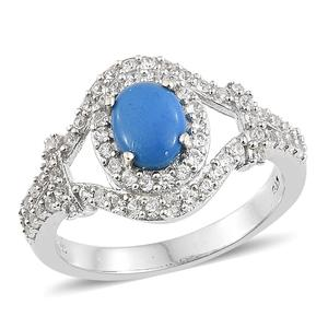 Ceruleite, Cambodian Zircon Platinum Over Sterling Silver Ring (Size 7.0) TGW 1.90 cts.