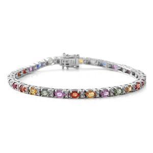 TLV Multi Sapphire, Cambodian Zircon Sterling Silver Bracelet (8.00 In) TGW 8.29 cts.