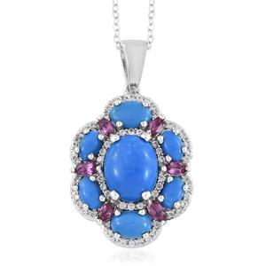 Ceruleite, Multi Gemstone Platinum Over Sterling Silver Pendant With Chain (20 in) TGW 4.78 cts.